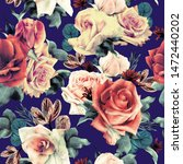 seamless floral pattern with... | Shutterstock . vector #1472440202