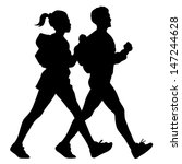 male and female walking... | Shutterstock .eps vector #147244628