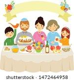 happy family celebrating rosh...   Shutterstock .eps vector #1472464958
