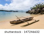 outrigger canoe on the beach of ...