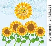 Sun And Sunflower Vector...