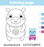coloring page with hippo.... | Shutterstock .eps vector #1472518895