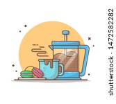 hot coffee with macaroons and...   Shutterstock .eps vector #1472582282