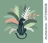 wild jungle hand drawn vector... | Shutterstock .eps vector #1472583038