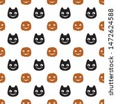halloween vector pattern. flat... | Shutterstock .eps vector #1472624588