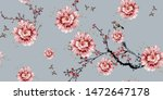 Flowers pattern.Silk scarf design, fashion textile.Seamless pattern - stock photo