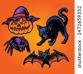 halloween set mascot vector arts | Shutterstock .eps vector #1472659352