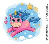 a cute and funny unicorn is... | Shutterstock . vector #1472670062