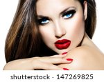 sexy beauty girl with red lips... | Shutterstock . vector #147269825