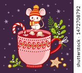 cute mouse in winter hat sits... | Shutterstock .eps vector #1472708792