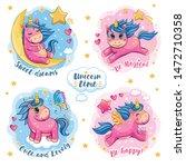 a set of cute funny unicorns.... | Shutterstock . vector #1472710358