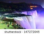 niagara falls lit at night by... | Shutterstock . vector #147272045