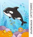 cute killer whale in cartoon... | Shutterstock .eps vector #1472724002