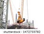 Small photo of Crane. Tower crane. Slewing crane. Construction crane.