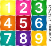 1 9 numbers on fun colorful... | Shutterstock . vector #147274106