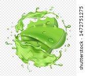 aloe in fresh juice splash... | Shutterstock .eps vector #1472751275