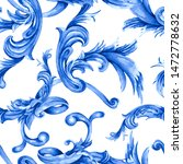 watercolor blue baroque... | Shutterstock . vector #1472778632