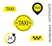 set of different taxi signs.... | Shutterstock . vector #1472791475