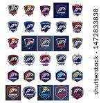 elephant logos. set of 30... | Shutterstock .eps vector #1472833838