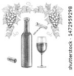 sketch of wine still life on... | Shutterstock . vector #1472959298