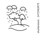 tree under rain line icon....