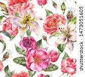 vintage watercolor seamless... | Shutterstock . vector #1473051605