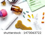 Stock photo concept pets care treatment on white background top view 1473063722