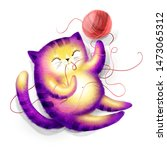 funny playing cat. digital hand ...   Shutterstock . vector #1473065312