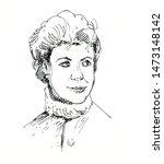 retro style woman portrait. ink ...   Shutterstock . vector #1473148142