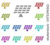 solar panels multi color icon....