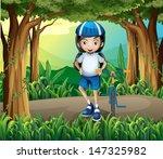 illustration of a girl standing ... | Shutterstock .eps vector #147325982
