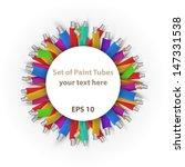 set of paint tubes background...   Shutterstock . vector #147331538
