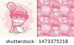 cute cat with pink background... | Shutterstock .eps vector #1473375218