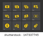 Dollar Banknote Icons On Gray...