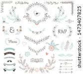 rustic floral design elements.... | Shutterstock .eps vector #1473407825