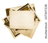 Vintage Photo Stack Isolated O...