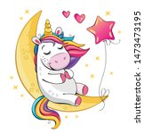a cute funny unicorn is sitting ...   Shutterstock . vector #1473473195