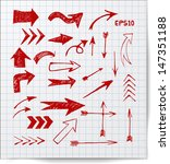 red pen sketch arrow collection ... | Shutterstock .eps vector #147351188
