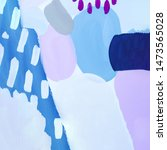 Small photo of Abstract blue painting with purple dots