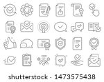 approve line icons. set of... | Shutterstock .eps vector #1473575438