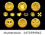 golden coin. set vector cartoon ...
