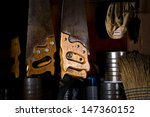 Small photo of Hand saws hang at the ready in the woodworking shop at Kline Creek Farm, West Chicago, IL.
