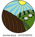 round icon of country side life | Shutterstock .eps vector #1473705995