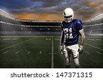 football player with a blue... | Shutterstock . vector #147371315