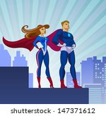 superhero couple  male and... | Shutterstock .eps vector #147371612