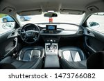 Small photo of Cluj-Napoca/Cluj/Romania-08.05.2019-Close-up photo of a luxurious leather interior of an Audi A6, year of manufacture 2016. Black leather, large navigation, automatic gearbox, reversing camera,Sline.