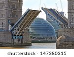 Tower Bridge In London Raised...