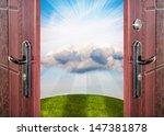 open door with a view of green... | Shutterstock . vector #147381878