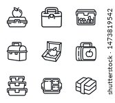 plastic lunch box icon set.... | Shutterstock .eps vector #1473819542