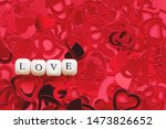 word love  wooden cubes letters ... | Shutterstock . vector #1473826652
